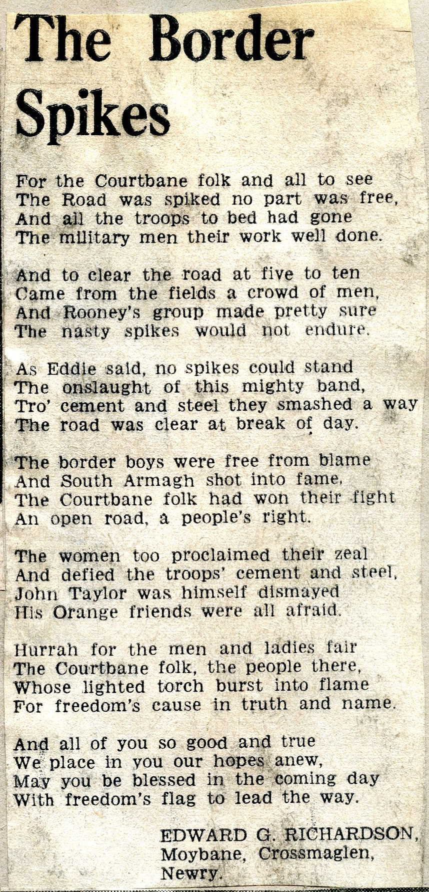 A poem by Edward G. Richardson called The Border Spikes.